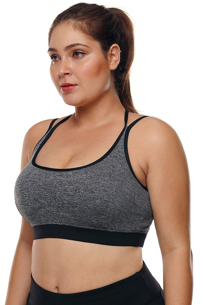 832c35b095 ... Grey Plus Size Cross-strap U-shaped Neck Sport Bra - Zaida Fashions ...
