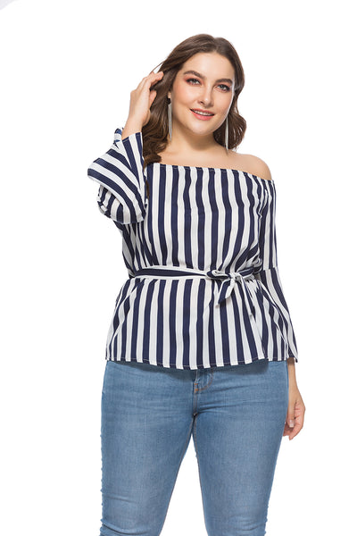 Plus Size Off Shoulde Strippes White Top with Wide Cuffs  - Zaida Fashions