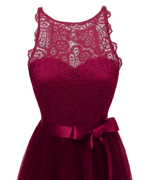 Lace Upper Sleeveless Short Prom Dress  - Zaida Fashions