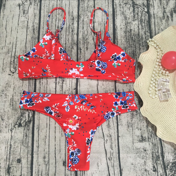 Two-Piece Red Flower Straps Swimwear  - Zaida Fashions