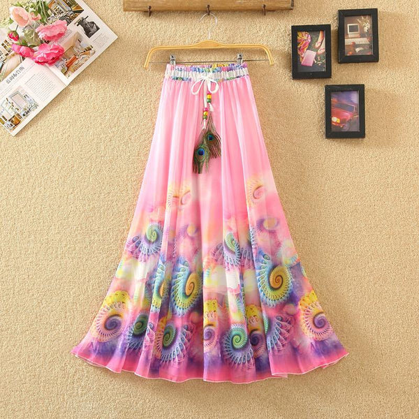 Summer Chiffon Elastic Beach Skirts  - Zaida Fashions