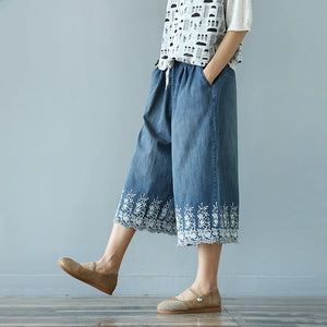 Denim Embroidery Elastic Waist Trousers  - Zaida Fashions