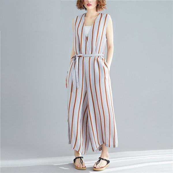 Cotton Linen Striped V-Neck Sleeveless Jumpsuits  - Zaida Fashions