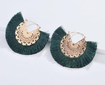 Silk fan shape tassel earrings  - Zaida Fashions