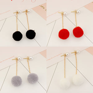 4 Pairs of Pom Pom Tassel Earrings  - Zaida Fashions