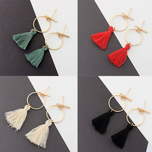 4 Pairs of Round Hoop Tassel Earrings  - Zaida Fashions