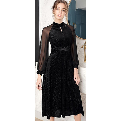 Black Velvet Chiffon Office Midi Dress  - Zaida Fashions