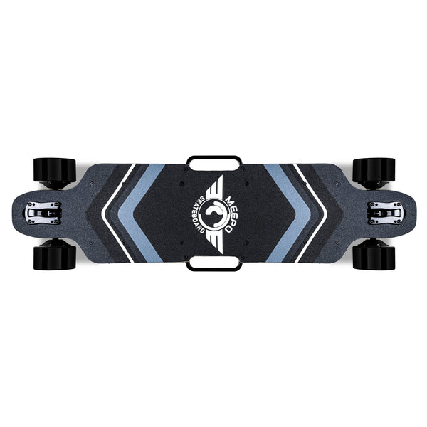 AWD Electric Skateboard - Top View with Grip Tape, Handles, Top of Wheels View