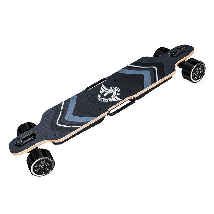 Meepo Board Electric Skateboard with All Wheel Drive - Side View, Grip Tape, Handles, Hub Motors