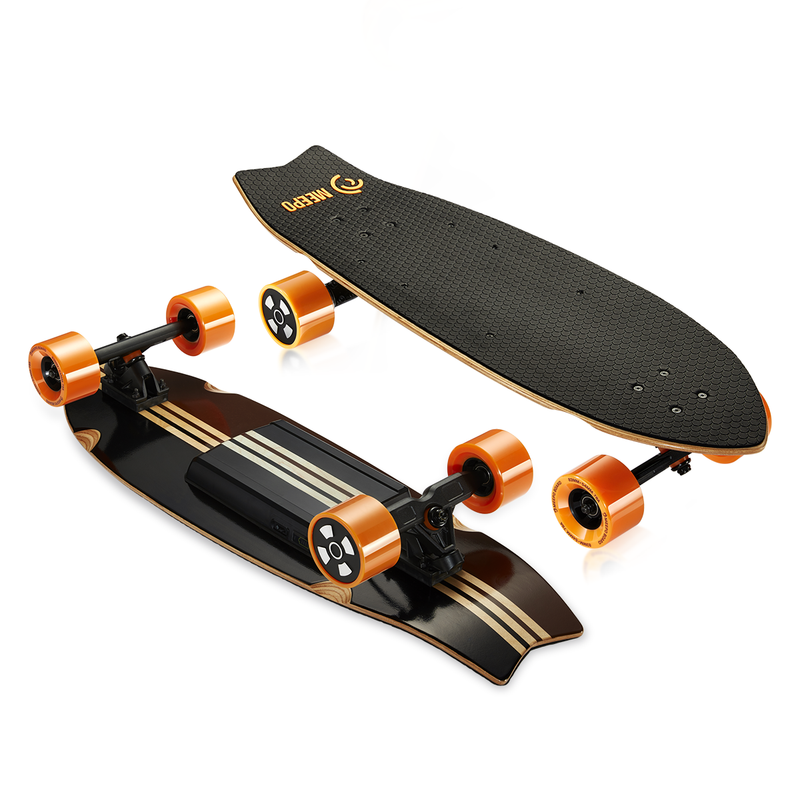 Meepo Campus 2 Electric Skateboard Side-By Side Top and Bottom View - Our #1 Choice for Under $300