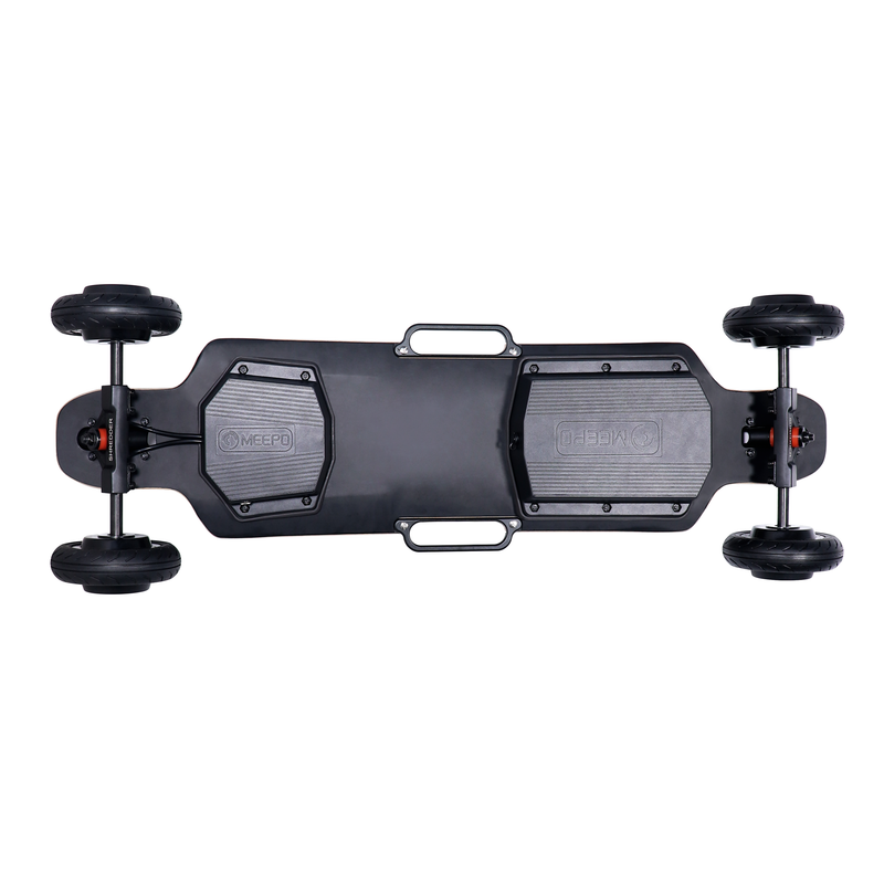 Meepo Electric Skateboard City Rider - Under Deck View of Handles, Wheels, ESC, Battery