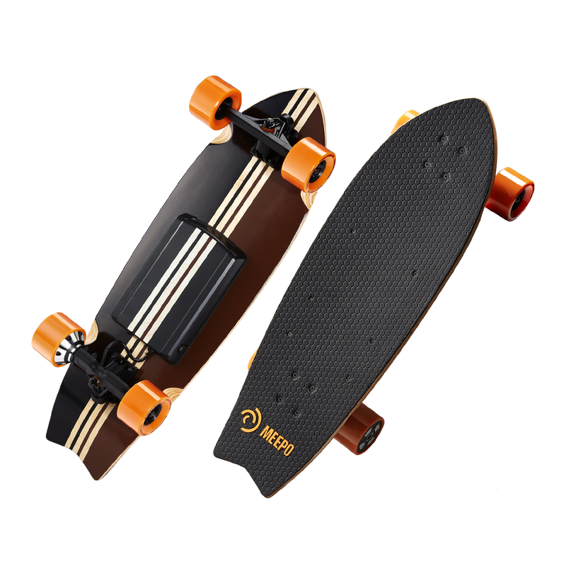 Meepo Campus 2 Side By Side View - Shortboard Electric Skateboard Top and Bottom View