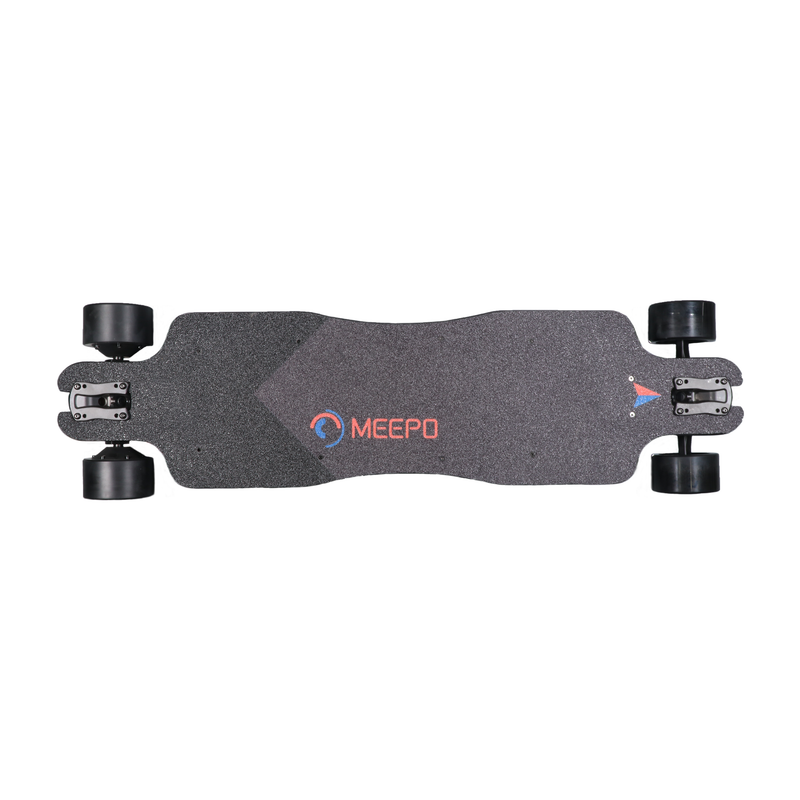 Meepo Classic 2 Electric Skateboard - Top View with Grip Tape, Wheels, and Deck.