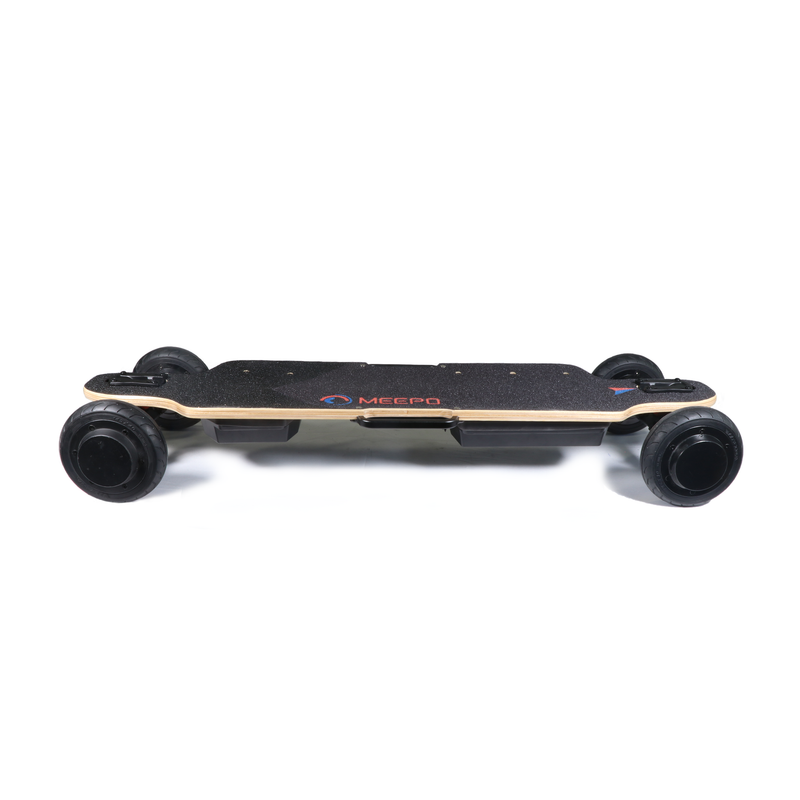 Meepo City Rider Electric Skateboard - Side View Including Grip Tape, Wheels, and Side View of ESC, Battery