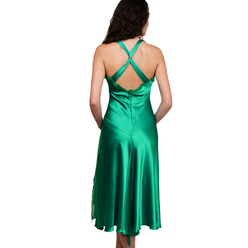 Emerald Silk Tea Dress