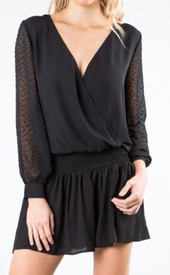 BREAKOUT LONG SLEEVE DRESS - BLK