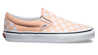 CHECKERBOARD SLIP-ON - APRICOT/WHT