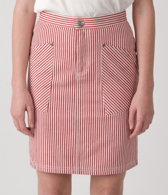 SIREN DENIM SKIRT - WHT/SPICE