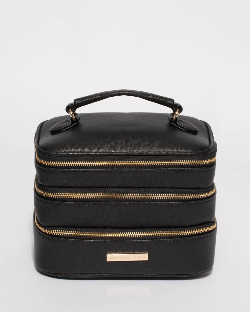 Black Saffiano Trio Cosmetic Case