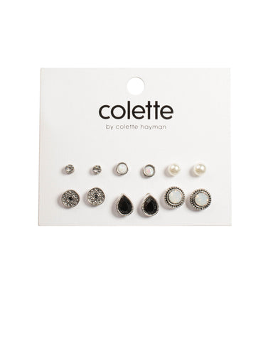 Black Antique Silver Tone Mixed Stud Earring Pack