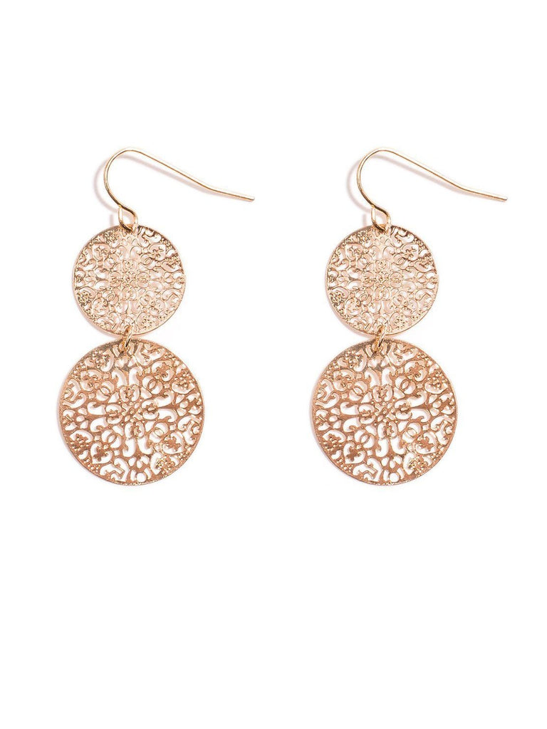 2 Circle Drop Filigree Earring