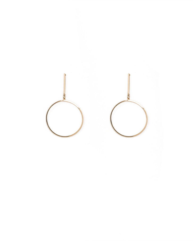 Gold Tone Fine Circle On Bar Earrings