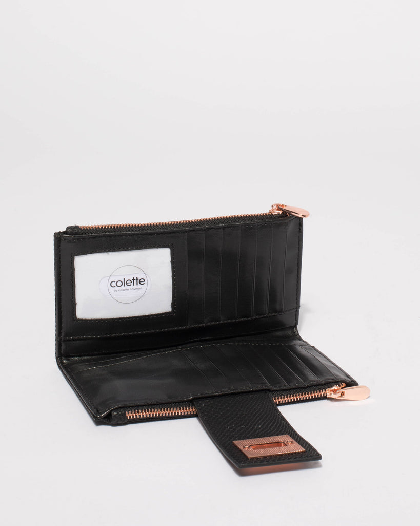 Black Snake Textured Greta Lock Wallet