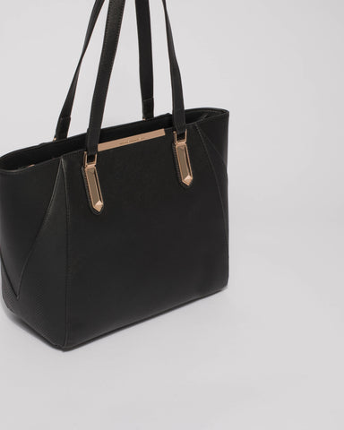Black Textured Domi Hardware Tote Bag With Gold Hardware