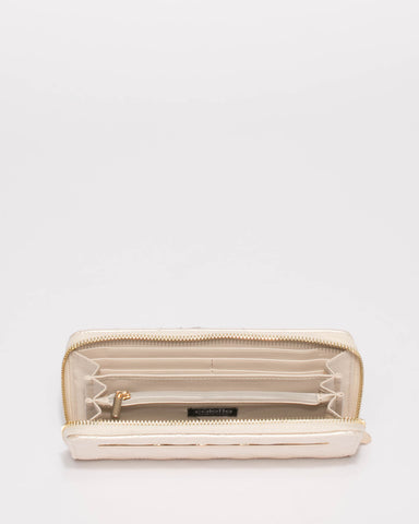 Ivory Nina Quilted Wallet