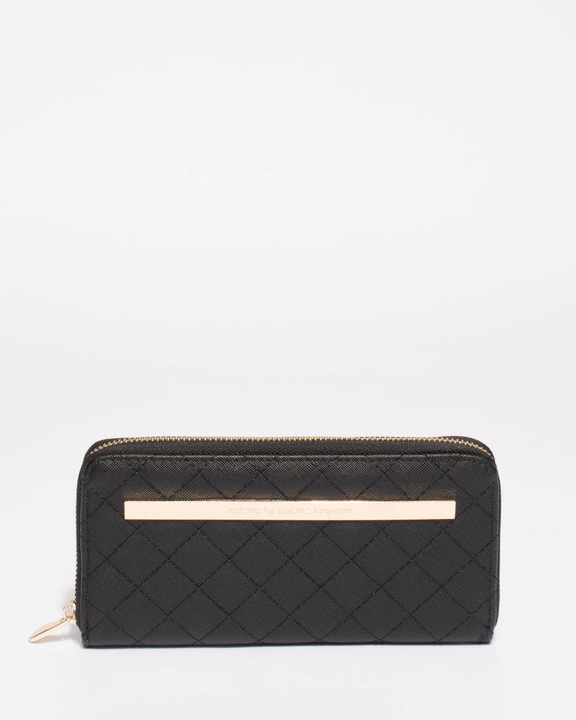 Black Nina Quilt Wallet With Gold Hardware