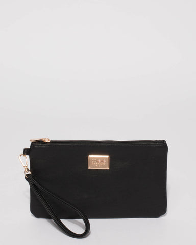 Black Smooth Brooke Wristlet Purse With Gold Hardware
