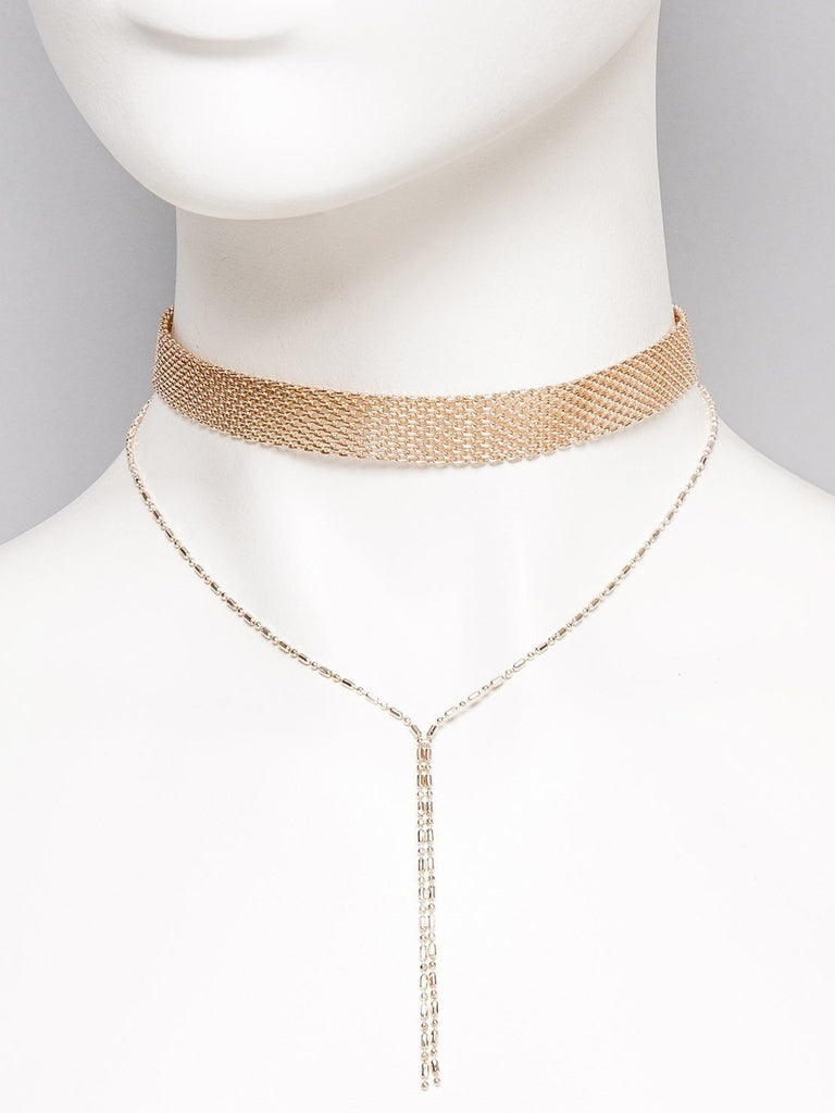 Mesh Chain Choker Lariat Necklace