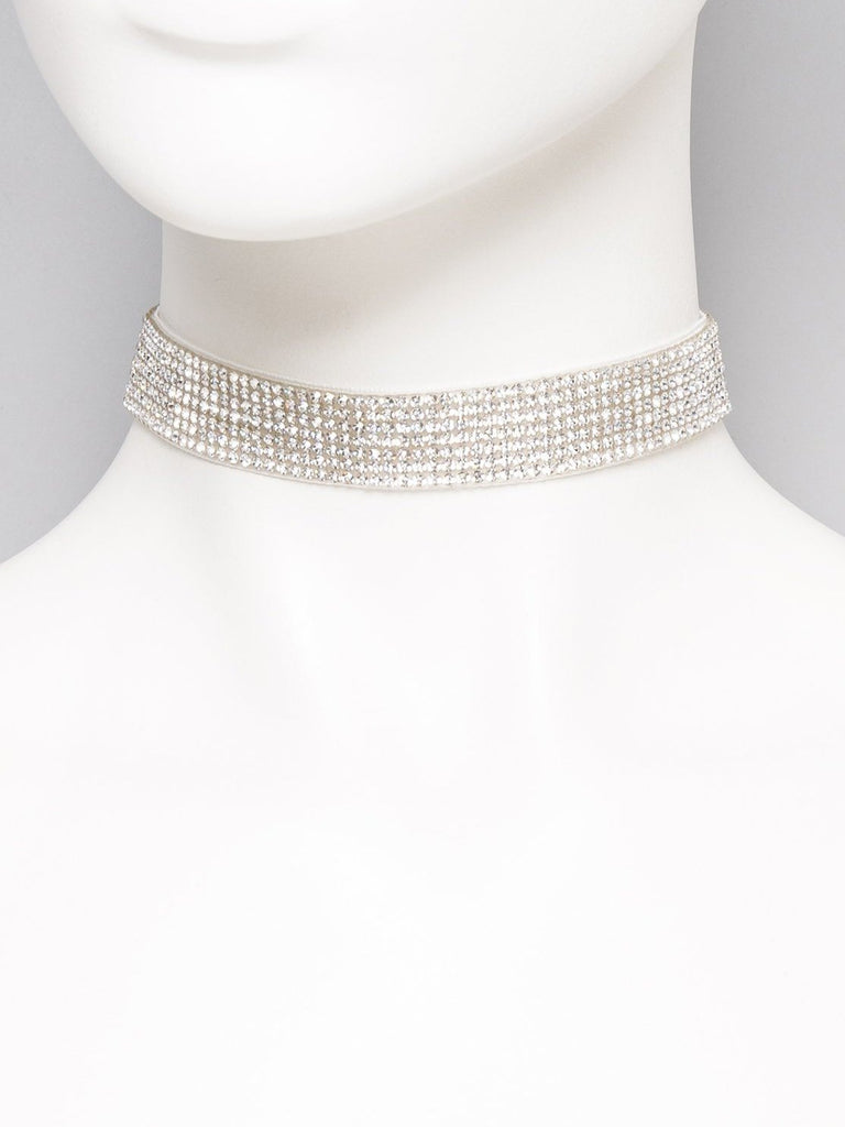 Diamante Fabric Choker Necklace