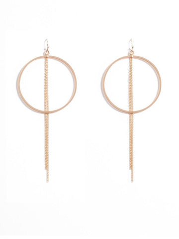 Fine Chain Circle Drop Earrings