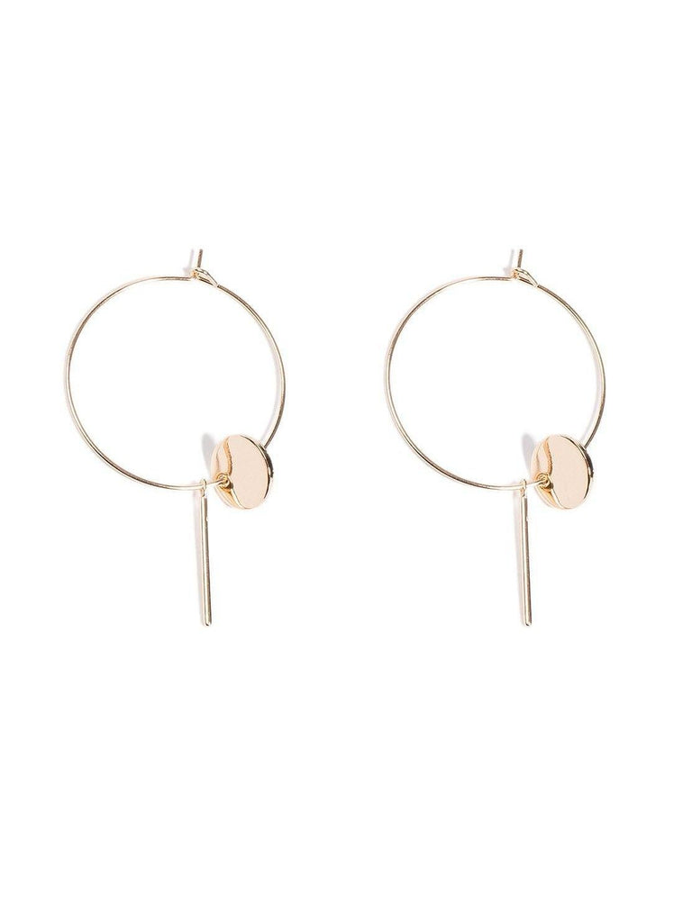 Circle Bar On 30cm Hoop Earrings