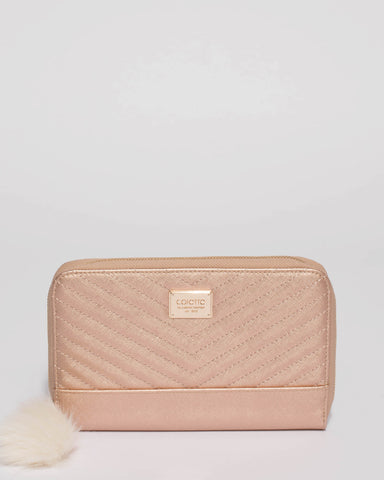 Rose Gold Nina Travel Wallet With Gold Hardware