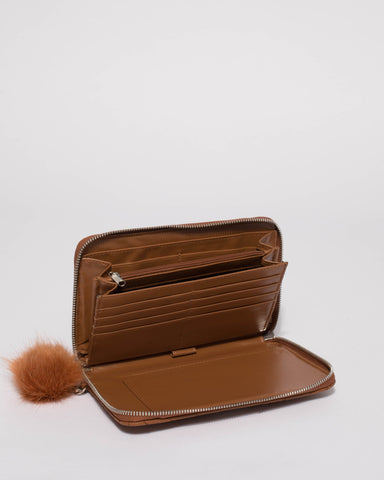 Tan Nina Travel Wallet With Silver Hardware