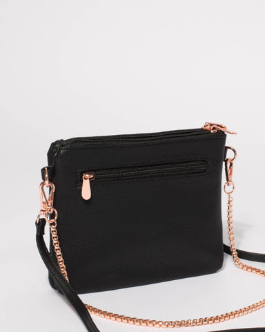 Black Double Peta Chain Crossbody Bag With Rose Gold Hardware