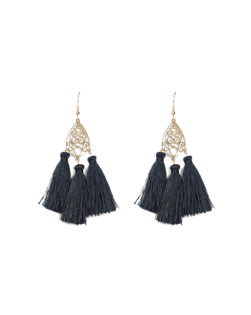 Filigree Tassel Statement Earrings