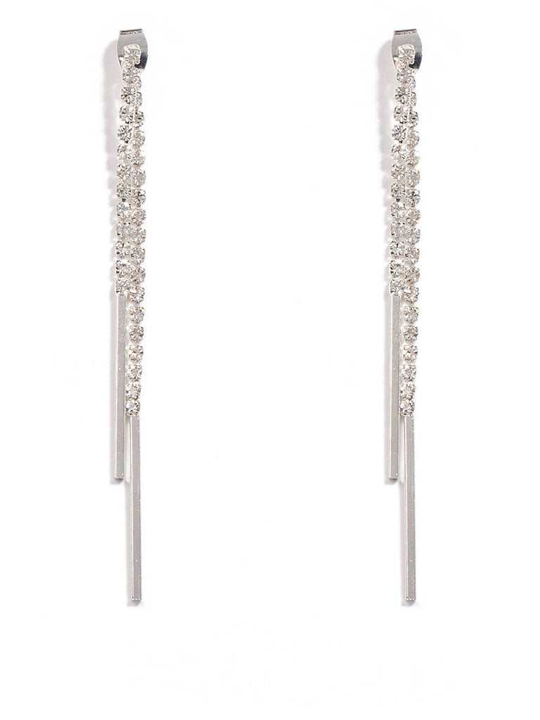 Diamante Cup Chain Bar Front Back Earrings