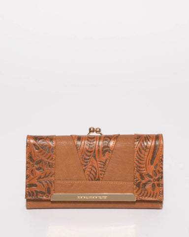 Tan Emmie Clip Wallet With Gold Hardware
