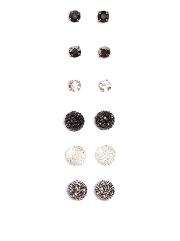 6 Multi Pack Mixed Sparkle Stud Earrings