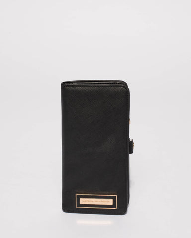 Black Saffiano Iphone 6, 7 and 8 Plus Fold Over Purse