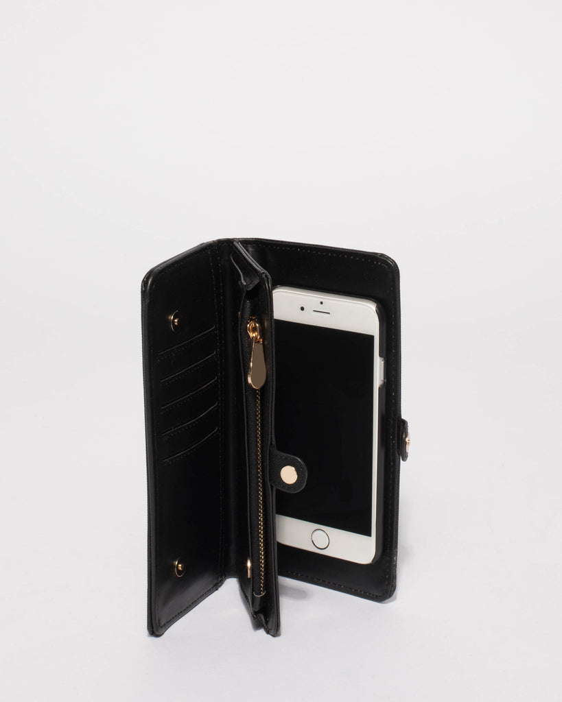 Black Saffiano Iphone 6, 7 and 8 Fold Over Purse