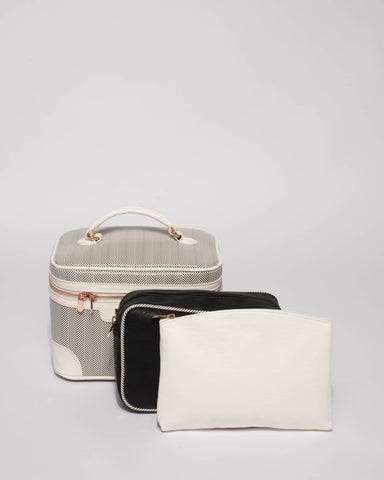 Monochrome Cosmetic Case Pack With Rose Gold Hardware