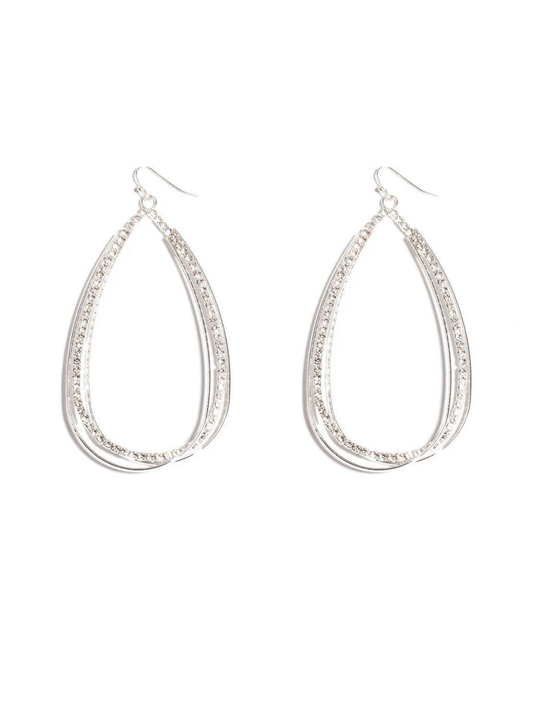 Diamante Pave Oval Drop Earrings