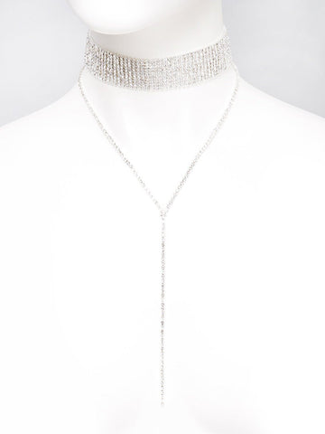 Wide Diamante Choker Y Shape