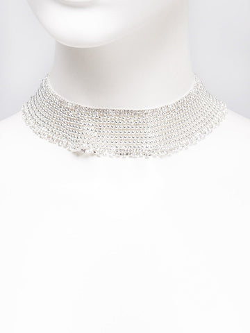 Ball Chain Diamante Glam Short Necklace