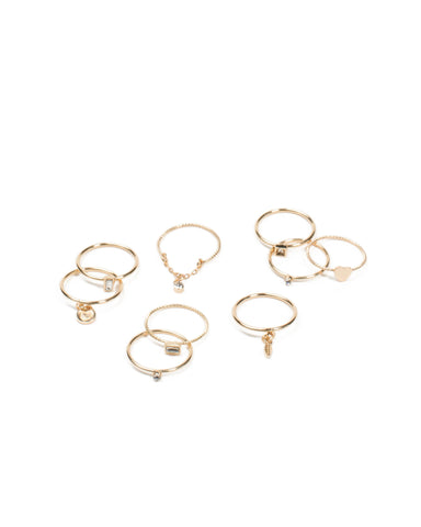 Gold Tone Diamante Heart Multi Pack Rings - Medium