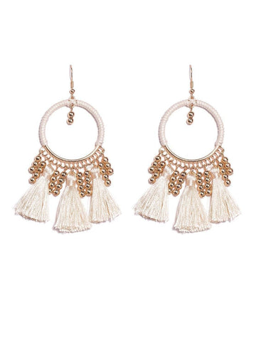 Ivory Gold Tone Third Loop Tassel Earrings